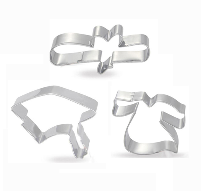 Graduation set cookie cutter Gown,Certificate Cap, Stainless steel biscuit mold wholesale 24pcs/lot Free shipping #CT215-B(China (Mainland))