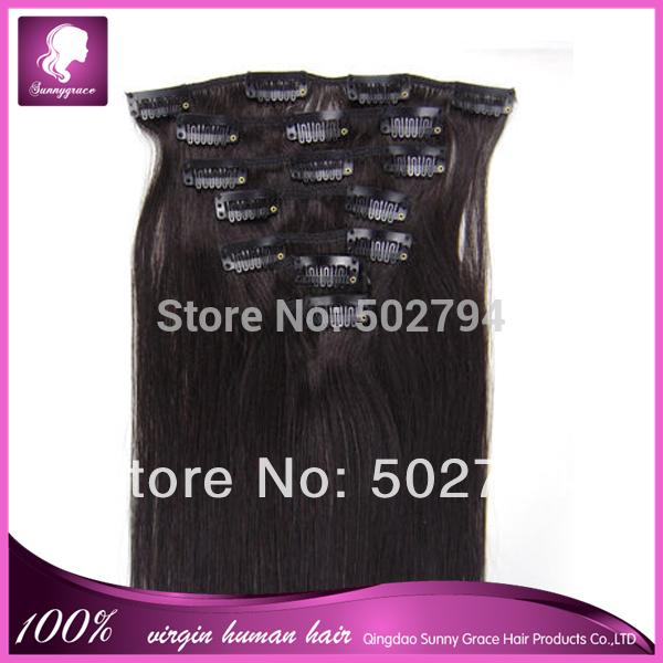De haute qualité 1b# droite, 100g/set péruvienne cheveux vierges clip en extension de cheveux humains pour la tête