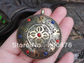 TBP064  Tibet double sides big pendants, Tibet antiqued metal brass silk OM amulets,45mm