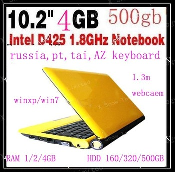 free shipping cn airmail  10.2 inch intel D425 laptop notebook 1.8G CPU max supported 4gb ram 500gb hdd