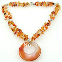 Multi Strands Natural Agate Necklace with Donut Pendant Necklace