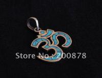 TBP093  Tibetan Metal inlaid Turquoise OM Amulet Pendants,Tibet Antiqued OHM Charm Man Jewelry Man Amulet