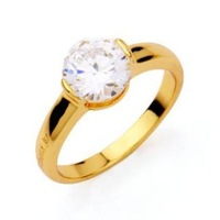 LADIES' 24K YELLWO GOLD PLATED 1.8 CT PRINCESS CUT GRADE AAA CZ DIAMOND ENGAGEMENT RING, COME WITH A FREE BOX!  (01128-09)