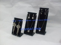 FREE SHIPPING WHOLESALE BLACK ACRYLIC EARRING NECKLACE DISPLAY STAND HOLDER SHOWCASE 8set/lot