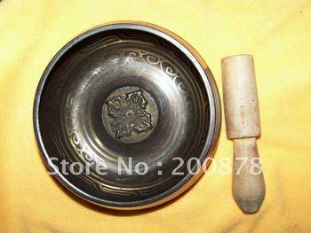 TBC838  Super healing Tibetan brass singing bowl,carved flower,big 5'',Resale & Wholesale