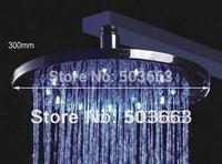 12''LED  faucet bathroom chrome shower head  b8126 round brass chrome shower head