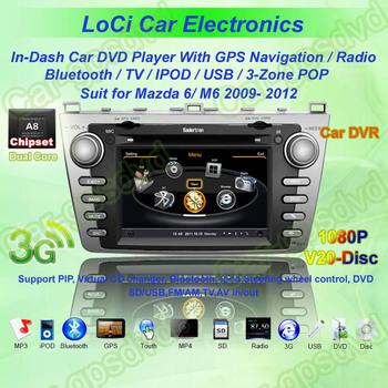 Car GPS Navigation DVD Player for Mazda 6 2009- 2012 car ,multimedia radio player system+Free GPS map+ camera+ wifi adapter