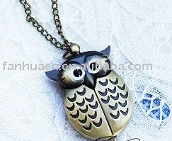Unique necklace & antique fashion alloy bird pocket watch &free shipping(China (Mainland))