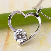 Silver Wonderful Promotion Trendy Real 925 sterling silver pendants with zircon for lady.Heart Modeling Pendant Jewelry WP021