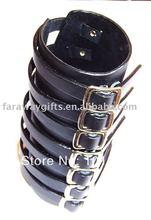 BLACK 7 straps w/buckle closure Gothic leather bracelet(China (Mainland))