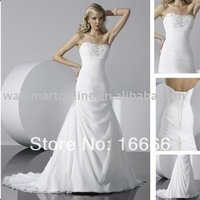 Vintage A Line Strapless Beading Chiffon Floor Length BN516 Wedding Bridal Gown 2011