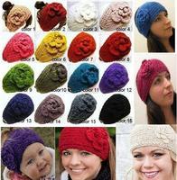 hot sale fashion winter-Handmade knitted headband& Flower headbands (20pcs moq) mix color