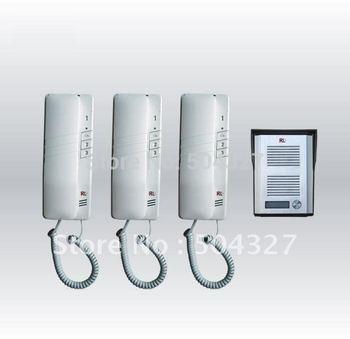 envío gratis 110v/240v triple- forma teléfono portero con tres unidades interiores de intercomunicación