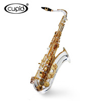 Cheap China stock only 1pc professional tenor sax gold and silver plated tenor saxophone with case