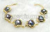 "SALE Big 12mm Black Natural baroque pearl bracelet 18K GP Gold chain 7.5 to 8.5""  Bracelet-bra184 wholesale/retail Free shipping"