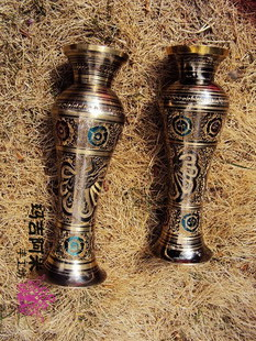 HDC0708 Nepal hand crafted brass Vase,210mm high,Nepalese folk arts decors,sale pair,Free shipping(China (Mainland))