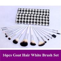 Free shipping! New Pro 16 pcs natural animal goat hair white handle makeup brushes sets kits HOUNDSTOOTH PU bag, dropshipping!