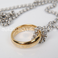 LORD OF THE RINGS 5MM GOLD TUNGSTEN CARBIDE ONE RING WITH CHAIN NECKLACE