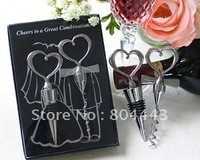 "Factory directly sale 5pcs/lot Wedding Favor--""Cheers to a Great Combination"" Wine Set factory directly sales"