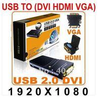 USB 2.0 to DVI VGA HDMI Graphics Adapter Converter Multi-Display Adapter Converter ,External video card +Freeshipping