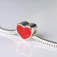 Minimum order $10 Wholesale1Pcs Fashion Style Bead Alloy Bead Charm European Silver Heart Bead Fit BIAGI bracelets & bangles H77