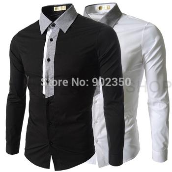 Free shipping long-sleeve shirt casual shirt cotton White black size M L XL XXL retail & wholesale False tie design