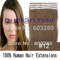 24inch 60cm long Tape remy 100% Natural Hair Extension #12 light brown color 20pcs & 70gram per pack