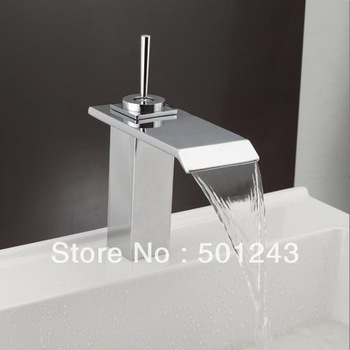 Free Shipping+Single Lever Waterfall Bathroom Basin Mixer Tap(Chrome Finish) QH0502