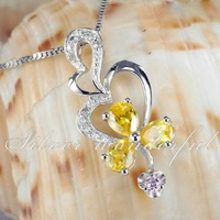 Silver Wonderful Classical Design Yellow Stone Real Pure 925 sterling silver necklace pendant with crystal for Women WP078