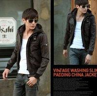 Promotion Fashion Men's Faux Leather Jacket Hooded Zipper Outerwear Coat Men Slim Outdoor Jackets Freeshipping 2014 New Winter