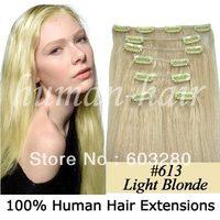 50cm/55cm/60cm/66cm/71cm clips in hair 100% natural hair extension 70g,80g,100g,120g,160gram color #613 Light blonde/ Hellblond