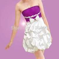 free ship, strapless bridesmaid dress, ball grow, ,short dress , purple with white