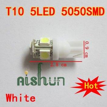Wholesale 10pcs/lot T10 5SMD 5050 Car 194 168 192 W5W LED Light Automobile Bulbs Lamp Wedge Interior Light  White 10*28
