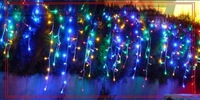 3M 100 multi Bulb Icicle Christmas LED Light  Curtain Lights 10ft wide Dropped String Holiday lights With End Plug