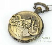 10pcs/lot Men Motorcycle Vintage Style Bronze Quartz Pocket Watch Necklace Pendant Watches