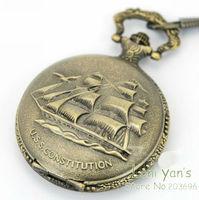 Free ship 10pcs/lot 46x59mm Antique Bronze Old Classic Ship Pocket Watch Necklace Pendant Watcehs