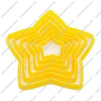 Free shipping,6pcs Plastic Star shape cookie cutter set
