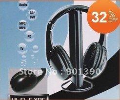 Wireless Earphone Headphone headset 5 in 1 for MP3 PC TV CD - 1pcs/lot Wireless Earphone mp3 mp4 earphone(China (Mainland))