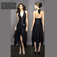 Real Pictures Show +Sexy Halter V-neck Formal Black Party Dress Popular Design Evening Dress HL-SD261 Free Shipping