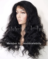 Beautiful #1B Malaysia body wave 100% Indian Remy Human Hair Lace Front Wig  Baby Hair Wholesale good quality