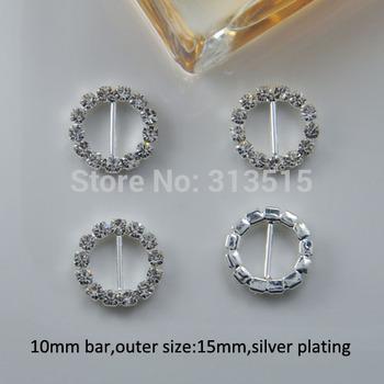 (M0163-10mm inner bar) round rhinestone buckle for wedding invitation card in silver or gold plating