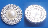 (M0167) 25mm Deluxe Double Row Rhinestone & Pearl Cluster, Wedding Embellishment, silver plating,ivory pearl