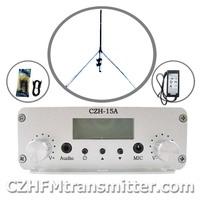 FMUSER CZH-15A 15W V1.0 FM stereo PLL broadcast transmitter+GP antenna kit free shipping