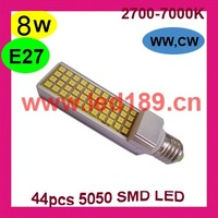 Wholesale+Free shipping:E27 8W LED lamp+ E27 44pcs SMD 5050 LED LED Spotlight LED Bulb