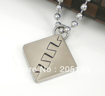 2014 new style punk Square Fashion Titanium pendant silver individuality metal pendant necklace