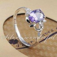 Real Pure 925 sterling silver fine jewlery purple 8mm big purple crystal stone ring for anniversary design single WR090w
