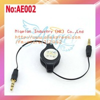 10pcs/lot Wholesale 3.5mm Male to Male Retractable Stereo Audio Cable for iPhone 4G 3G  iPod Free shipping Black #AE002