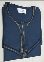 ma027 dark blue men abaya with embroidery in wholesale price for free shipping