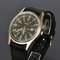 New SOKI Black Date Mens Analog Military Quartz Wrist Nylon Band Strap Watch W032