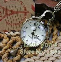 10pcs/lot Antique Pendant Clock Necklace Quartz Watch Pocket Watches
